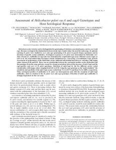 Assessment of Helicobacter pylori vacA and cagA Genotypes and ...