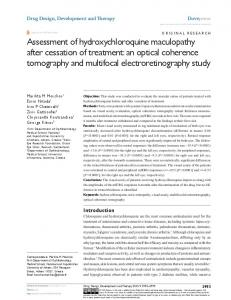 assessment of hydroxychloroquine maculopathy ... - Semantic Scholar