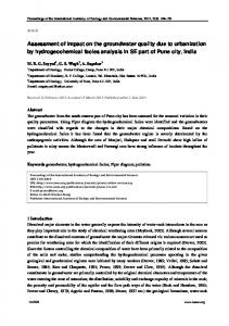 Assessment of impact on the groundwater quality due to urbanization ...
