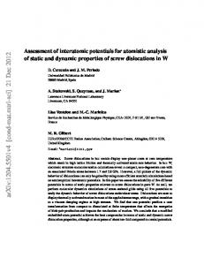 Assessment of interatomic potentials for atomistic analysis of static and ...