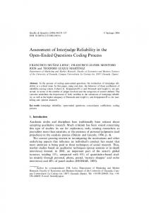 Assessment of Interjudge Reliability in the Open ... - Semantic Scholar