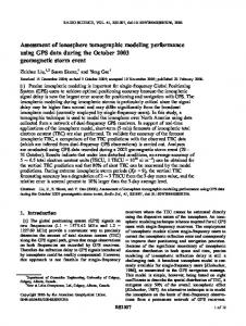 Assessment of ionosphere tomographic modeling performance ... - Wiley