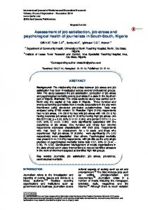 Assessment of job satisfaction, job stress and psychological health of ...