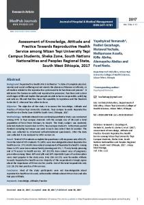 Assessment of Knowledge, Attitude and Practice Towards ...