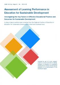 Assessment of Learning Performance in ... - (IGES) Publications