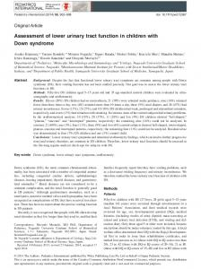 Assessment of lower urinary tract function in ... - Wiley Online Library