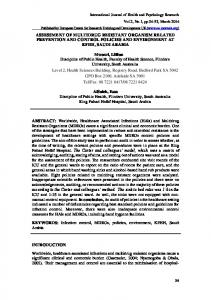 ASSESSMENT OF MULTIDRUG RESISTANT ORGANISM RELATED ...