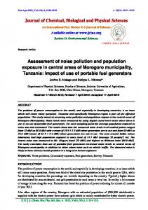 Assessment of noise pollution and population exposure in central ...