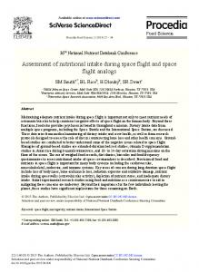Assessment of Nutritional Intake During Space Flight and ... - Core