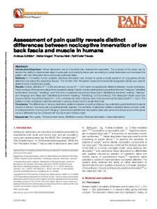 Assessment of pain quality reveals distinct differences ...