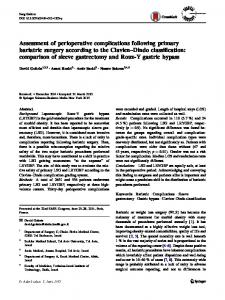 Assessment of perioperative complications following primary bariatric ...