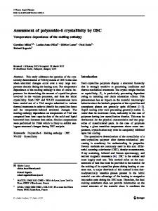 Assessment of polyamide-6 crystallinity by DSC