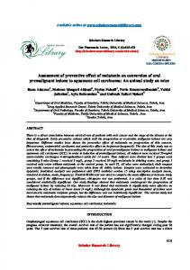 Assessment of preventive effect of melatonin on conversion of oral ...
