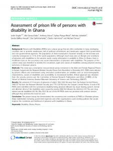 Assessment of prison life of persons with disability in Ghana ...