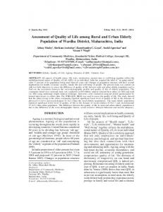 Assessment of Quality of Life among Rural and ... - Semantic Scholar