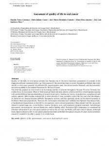 Assessment of quality of life in oral cancer - Semantic Scholar