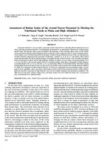 Assessment of Ration Scales of the Armed Forces Personnel ... - DRDO