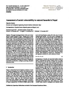 Assessment of social vulnerability to natural hazards in Nepal
