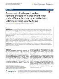 Assessment of soil organic carbon fractions and carbon management ...