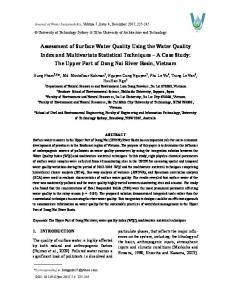 Assessment of Surface Water Quality Using the Water Quality Index ...