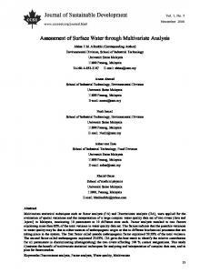 Assessment of Surface Water through Multivariate Analysis
