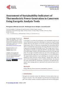 Assessment of Sustainability Indicators of Thermoelectric Power ...