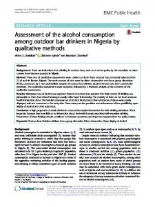 Assessment of the alcohol consumption among