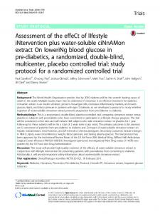 Assessment of the effeCt of lIfestyle iNtervention plus ... - Springer Link