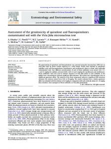 Assessment of the genotoxicity of quinolone and ... - Semantic Scholar