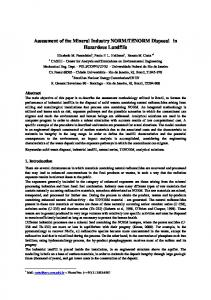 Assessment of the Mineral Industry NORM /TENORM Disposal in ...