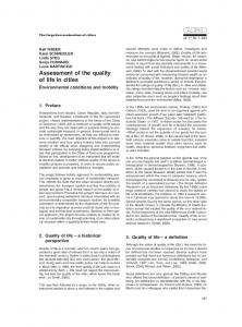 Assessment of the quality of life in cities - Urbani izziv