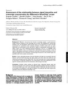 Assessment of the relationship between signal ... - BioMedSearch