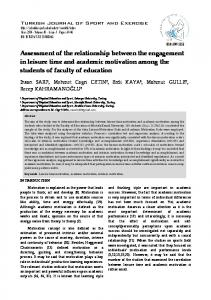 Assessment of the relationship between the engagement ... - DergiPark