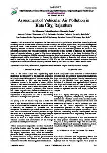 Assessment of Vehicular Air Pollution in Kota City, Rajasthan - IARJSET