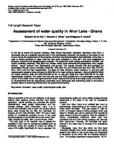 Assessment of water quality in Ahor Lake - Ghana - African Journals ...