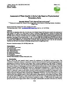Assessment of Water Quality in Surha Lake Based on Physiochemical ...