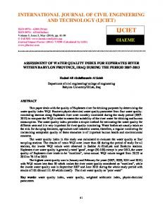 assessment of water quality index for euphrates river