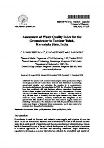 Assessment of Water Quality Index for the Groundwater in Tumkur ...