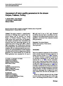 Assessment of water quality parameters in the stream ... - Springer Link
