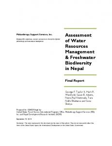 Assessment of Water Resources Management & Freshwater ... - USAID