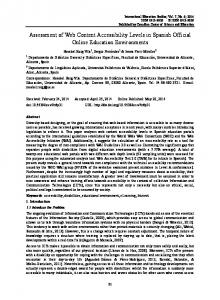 Assessment of Web Content Accessibility Levels in Spanish ... - ERIC