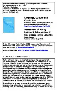 Assessment of Young Learners' Achievement in ESL
