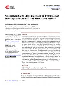 Assessment Slope Stability Based on Deformation of Rock Joints and ...