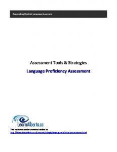 Assessment Tools & Strategies Language Proficiency ... - Learn Alberta