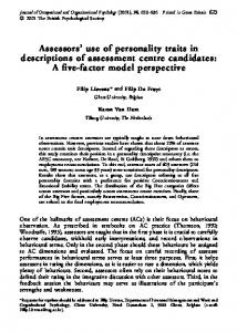 Assessors' use of personality traits in descriptions of ... - CiteSeerX