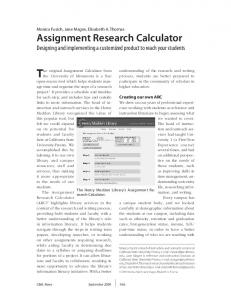 Assignment Research Calculator - College & Research Libraries News