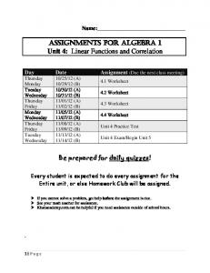 ASSIGNMENTS FOR ALGEBRA 1 Unit 4: Linear Functions and ...