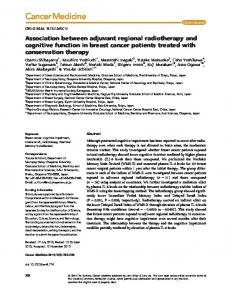 Association between adjuvant regional radiotherapy and cognitive
