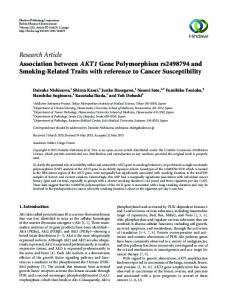 Association between AKT1 Gene Polymorphism rs2498794 and ...