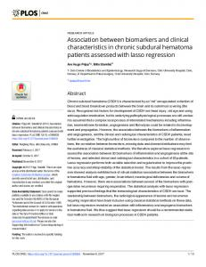 Association between biomarkers and clinical
